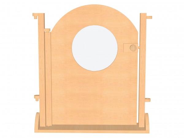 Raumteiler mit verriegelbarer Bogentür und Rundfenster aus Plexiglas.