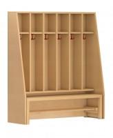 Garderobenschrank mit offener Facheinteilung und Garderobenbank