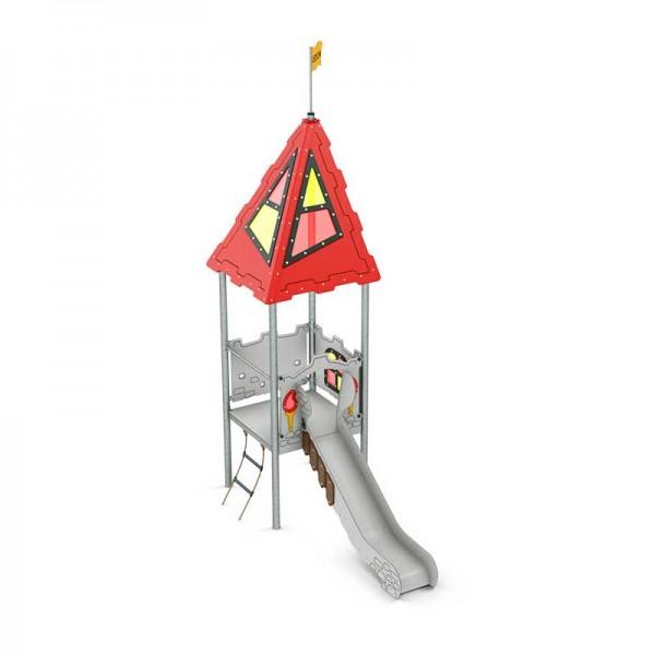 Spielanlage Avalon Serie Castle von LEDON - Überdachtes Podest und Rutsche für Kinder