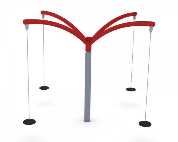 Karussell-Schaukel mit 4 Tellersitzen, Seilen und Schaukelaufhängungen von Ledon®