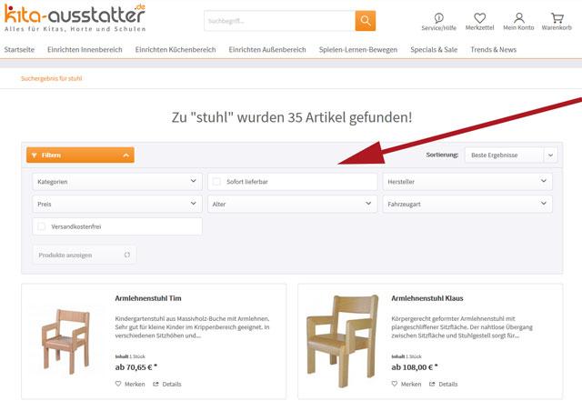 Filteroptionen auf kita-ausstatter.de