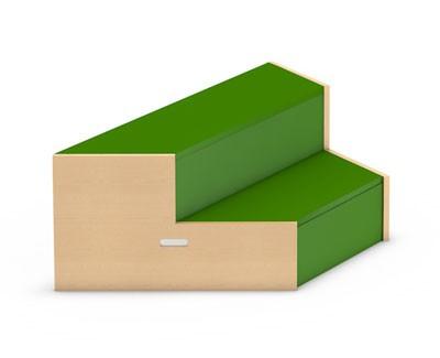 Trapeztreppe mit Belag aus Tretford-Teppich oder mit Linoleum-Belag