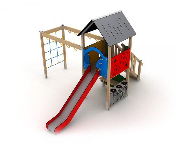 Klettergerüst Stahl : Ledon spielanlage freja mit rutsche spielküche und klettergerüst