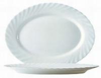 Hartglas-Geschirr Serie Trianon - Ideal für Kita, Hort oder Schule - Ovale Platte 35 cm in weiß