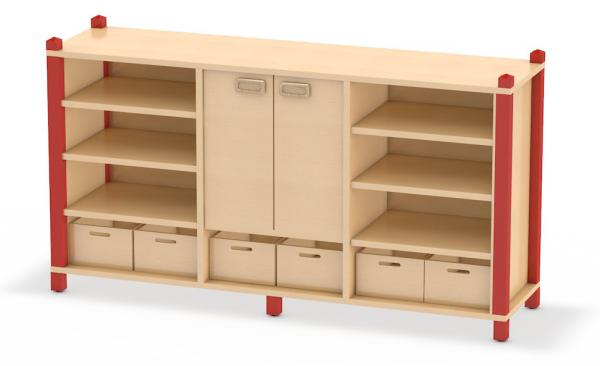 Beidseitig nutzbarer Raumteiler in Stollenbauweise aus dem System Prinova - ideal für Kita oder Kindergarten