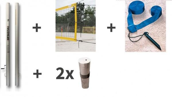 Beach-Volleyball-Anlage, bestehend aus 2 x Pfosten in Alu eloxiert, 1 x Netz, 1 x Spielfeldmarkierung und 2 Hülsen zum Einbetonieren