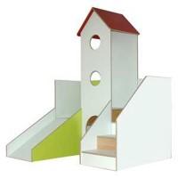 Spiellandschaft debe.decor Variante 9 - Flächenbedarf ca. B/H/T 150 x 210 x 240 cm. Podesthöhe ca. 78 cm