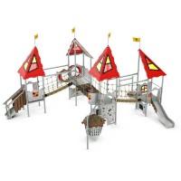 Spielanlage Tristan Castle von LEDON - Vier Podeste mit Rutschen, Hängeseilbrücke, Hängebrücke. Kletterwand, Spielwand, Vogelnestschaukel, Netzschleuse und...