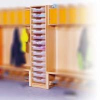 Beistellregal mit ErgoTray-Boxen für Garderobe - integriert in Garderobe Emma als Kombinationsbeispiel