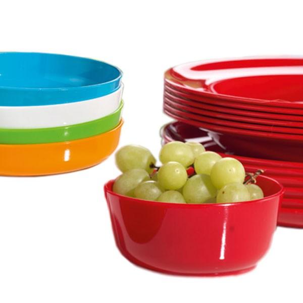 Schale mit Obst gefüllt - dahinter Teller aus Kunststoff von Kinderzeug