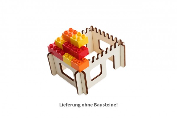 Brikkon 3D-Puzzle Haus aus 4 Holzteilen zum Ausbau mit DUPLO®-Bausteinen von Lego®