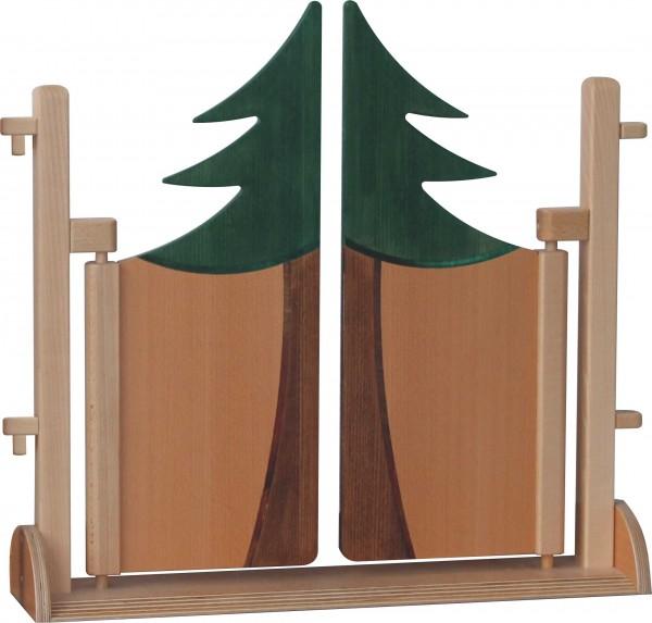 Raumteiler mit doppelter Pendeltür im Motiv Nadelbaum