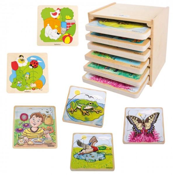"""Lagen-Puzzle """"Entdecker"""" mit 6 verschiedenen Motiven: Garten, Wiese, Honig, Frosch, Ente, Schmetterling"""