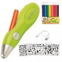 lieferumfang Jolly Kinder Airbrush Fun Set - 1 Sprühstift, 12 Faserstiftpatronen, 1 Ladkabel, 7 Motiv-Schablonen