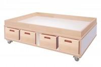 Mobiler Spieltisch Collection debe.decor von De Bruyn - unten mit 8 Stapelkisten