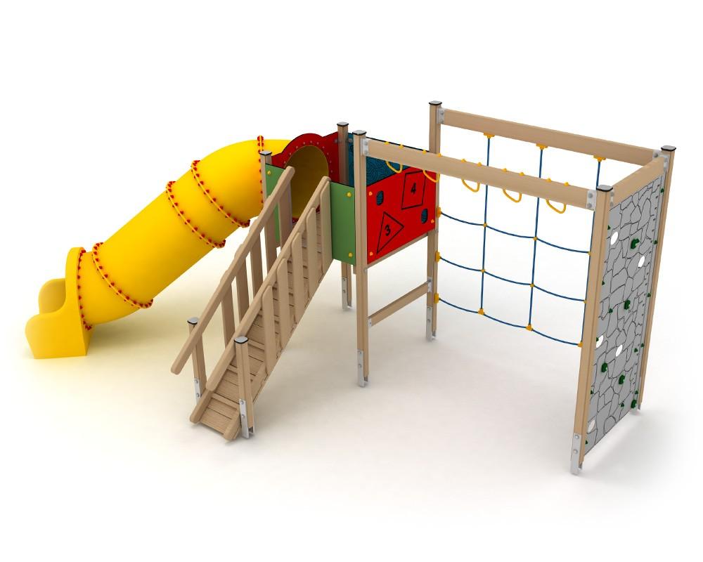 Klettergerüst Stahl : Ledon spielanlage huginn mit röhrenrutsche und klettergerüst für