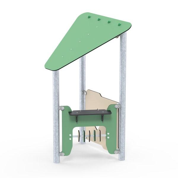 Ledon Basic Spielhaus Ben - hinten mit niedriger Rückwand, seitlich mit Spielwand mit Verkaufstresen und beweglichen Schiebeteilen