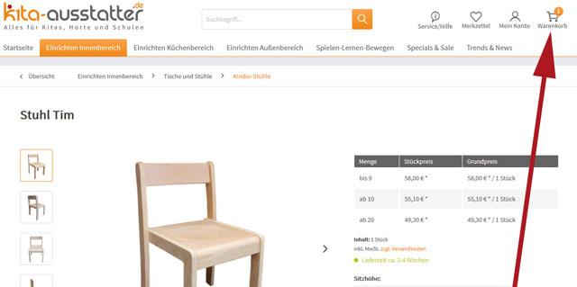 Anzahl der Artikel im Warenkorb bei kita-ausstatter.de