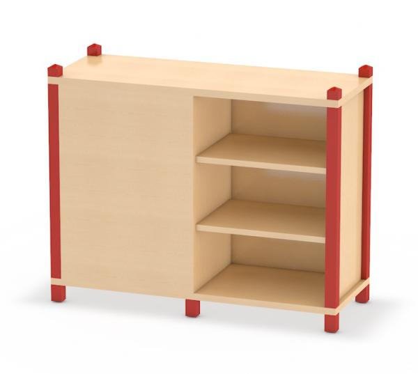Wechselseitig offenes Regal in Stollenbauweise System Prinova - ideal für Kita oder Kindergarten