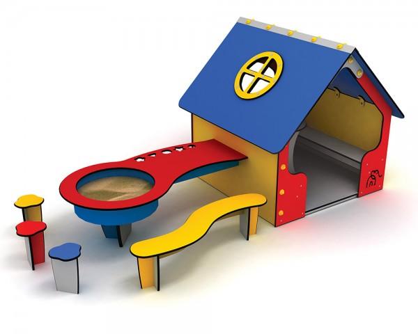 Spielhaus Magerite von Ledon® - außen mit Sand-/Wassertisch und Sitzmöbel zum Eingraben